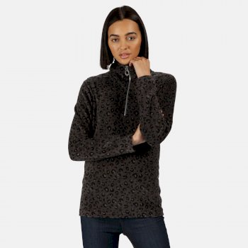 Kimberley Walsh Leela Lightweight Half Zip Printed Fleece - Black Leopard