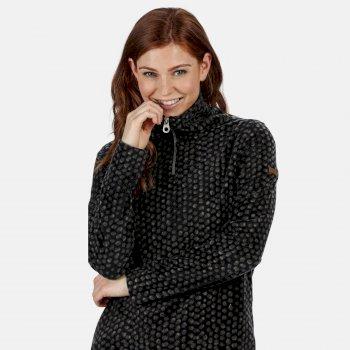 Leela bedrucktes Fleece mit halbem Reißverschluss für Damen Schwarz