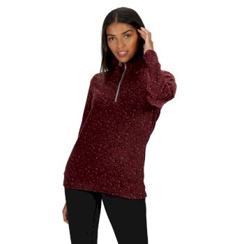 Regatta Women's Leela Lightweight Half Zip Printed Fleece - Dark Burgundy Leopard