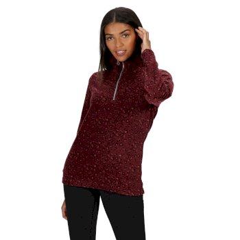 Leela leichtes, bedrucktes Fleece mit halblangem Reißverschluss für Damen Rot