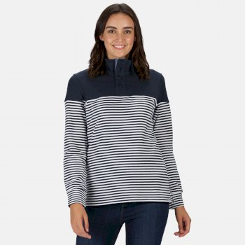 Regatta Women's Camiola Funnel Neck Sweatshirt - Navy Stripe
