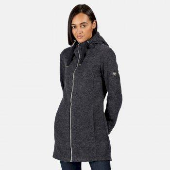 Reeva strapazierfähiges, lang geschnittenes Fleece mit Kapuze und durchgehendem Reißverschluss für Damen Blau