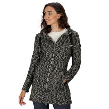 Reeva strapazierfähiges, lang geschnittenes Fleece mit Kapuze und durchgehendem Reißverschluss für Damen Schwarz