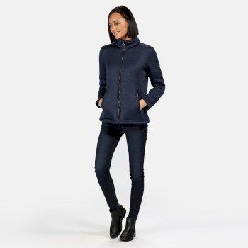 Razia strapazierfähiges Fleece in Strickoptik mit durchgehendem Reißverschluss für Damen Blau
