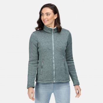 Razia strapazierfähiges Fleece in Strickoptik mit durchgehendem Reißverschluss für Damen Grün