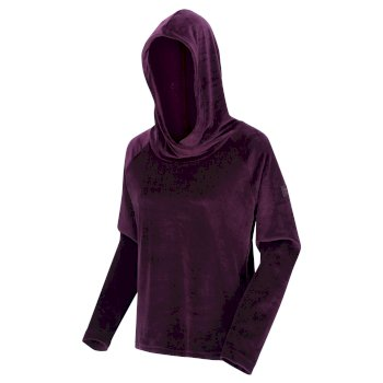 Kimberley Walsh Kelilah Velour Hooded Fleece - Dark Burgundy