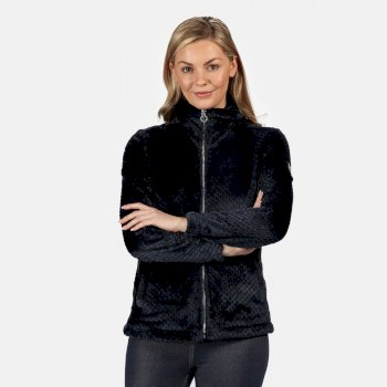 Kimberley Walsh Hermilla Full Zip Velour Fluffy Fleece - Navy