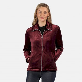 Kimberley Walsh Hermilla Full Zip Velour Fluffy Fleece - Dark Burgundy