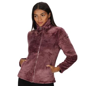 Hermilla kuscheliges Velours-Fleece mit durchgehendem Reißverschluss für Damen Rosa