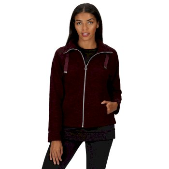 Kimberley Walsh Zaylee Full Zip Mid Weight Fleece - Dark Burgundy Marl