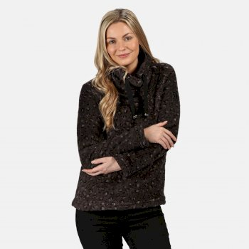 Kimberley Walsh Hannelore Overhead Fluffy Fleece - Black Leopard Fluffy