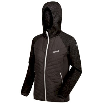 Regatta Women's Pemble II Hybrid Full Zip Hooded Walking Fleece - Ash Black