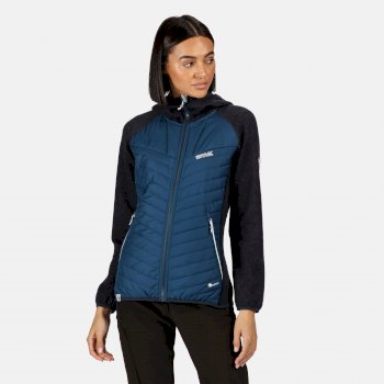 Regatta Women's Pemble II Hybrid Full Zip Hooded Walking Fleece - Blue Opal Navy