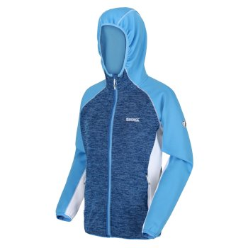 Walbury meliertes Walking-Strickfleece mit Kapuze und durchgehendem Reißverschluss für Damen Blau