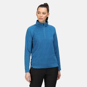 Pimlo Velours-Walkingfleece mit halblangem Reißverschluss für Damen Blau