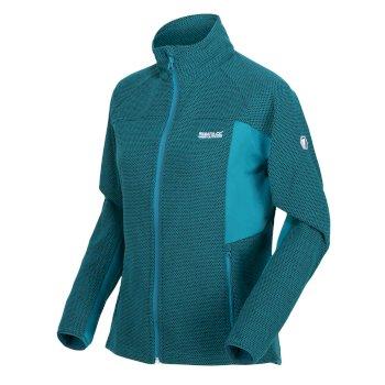 Highton Winter zweifarbiges Stretch-Walkingfleece mit durchgehendem Reißverschluss für Damen Blau