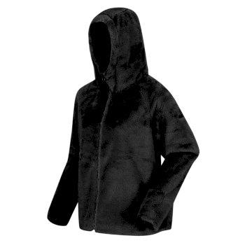 Haddie robustes Fleece mit Kapuze mit Kunstpelz und durchgehendem Reißverschluss Schwarz