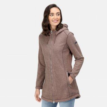 Radhiyah robustes Fleece mit durchgehendem Reißverschluss und Kapuze für Damen Braun