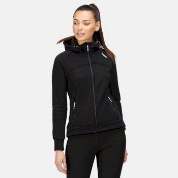 Meakin robustes Fleece mit durchgehendem Reißverschluss und Kapuze für Damen Schwarz