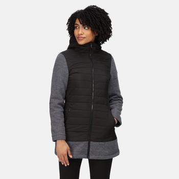 Alivia robustes, isoliertes, gestepptes Fleece mit durchgehendem Reißverschluss und Kapuze für Damen Schwarz