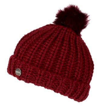 Lovella II - Damen Grobstrick-Bommelmütze Delhi-Rot
