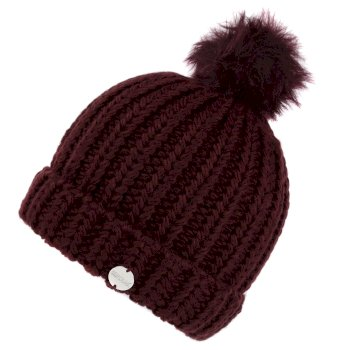 Kimberley Walsh Lovella II Chunky Knit Bobble Hat - Dark Burgundy