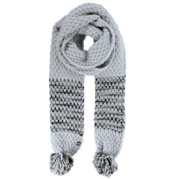 Frosty III - Damen Schal mit Bommeln Light Steel