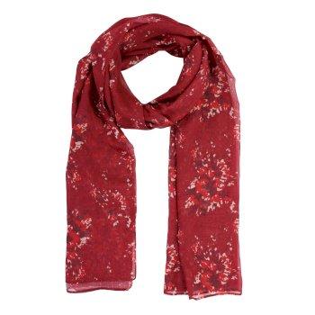 Peggie III - Damen Schal mit Blumenprint Delhi-Rot
