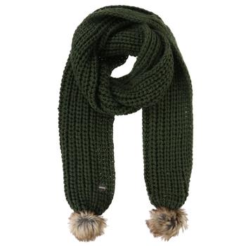 Lovella - Damen Schal mit Bommeln dunkles Khaki