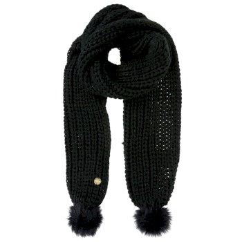 Lovella - Damen Schal mit Bommeln Schwarz