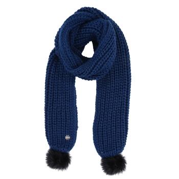 Lovella - Damen Schal mit Bommeln Opalblau