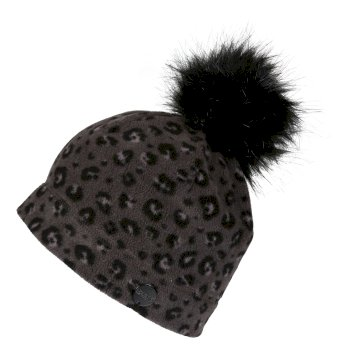 Azni bedruckte Fleece-Bommelmütze für Damen Schwarz