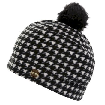 Azni - Damen Fleece-Bommelmütze mit Print Black Houndstooth