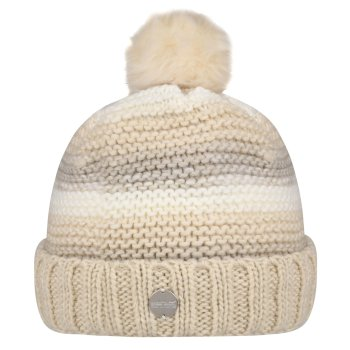 Kimberley Walsh Frosty IV Fleece Lined Knitted Bobble Hat - Light Vanilla