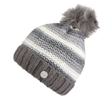 Frosty IV Strickmütze mit Bommel und Fleecefutter für Damen Grau