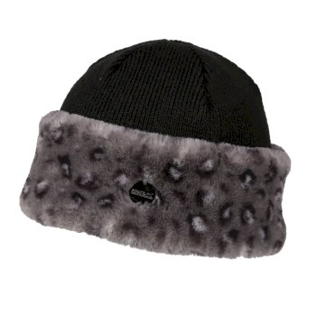 Kimberley Walsh Luz II Faux Fur Trim Acrylic Knit Hat - Black Animal