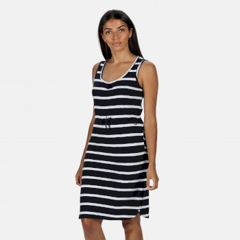 Regatta Women's Felixia Striped Sleeveless Dress - Navy