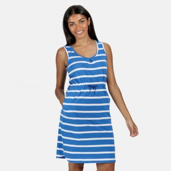 Kimberley Walsh Felixia Striped Sleeveless Dress - Strong Blue