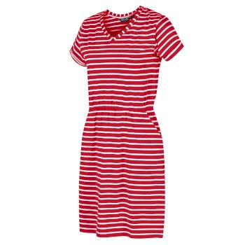 Regatta Women's Havilah Jersey Coolweave Dress - True Red White Stripe