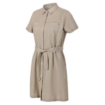 Quinty Hemdkleid mit kurzen Ärmeln für Damen Sahne