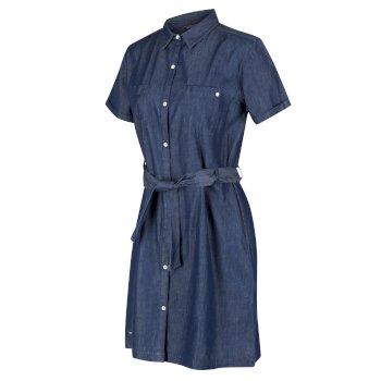 Quinty Hemdkleid mit kurzen Ärmeln für Damen Blau