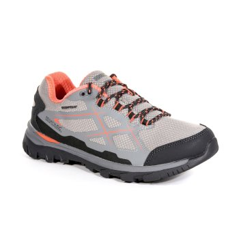 Regatta Women's Kota Low Walking Shoes Rock Grey Neon Peach