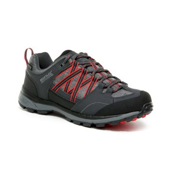 Regatta Women's Samaris II Low Waterproof Walking Shoes - Granite Red Sky