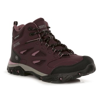 Regatta Women's Holcombe IEP Mid Waterproof Walking Boots - Dark Burgundy Black