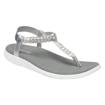Regatta Women's Santa Luna Braided Sandals - Silver White