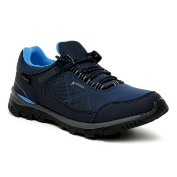 Regatta Women's Highton Stretch Low Waterproof Walking Shoes - Dark Denim Blue Aster
