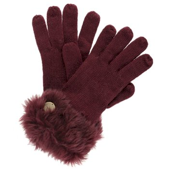 Regatta Adults Luz Cotton Jersey Knit Gloves - Burgundy