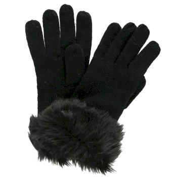 Regatta Adults Luz Cotton Jersey Knit Gloves - Black