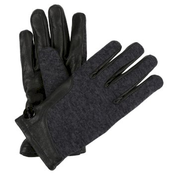 Gelsey Leder-Fleece-Handschuh mit Strickeffekt Black Ash