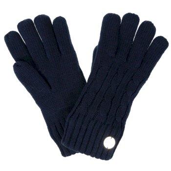 Multimix II - Damen Handschuhe mit Zopfmuster - Fleece-Futter Navy